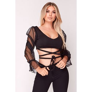 Black Mesh Sleeve Tie Waist Crop Top