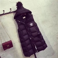 """Adidas"" Women Fashion Solid Color Sleeveless Middle Long Section Hooded Cotton-padded Clothes Vest Jacket Coat"