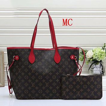 LV Louis Vuitton classic printed letters two-piece shopping bag ladies bucket bag shoulder bag