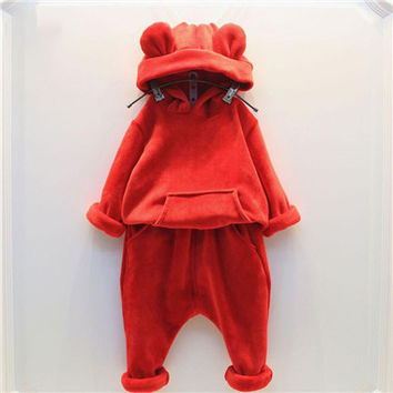 Boy Girls Winter Warm Clothing Set Boys Clothes 2pcs Hoodies+Pant Thick Hooded Suit Toddler Clothes