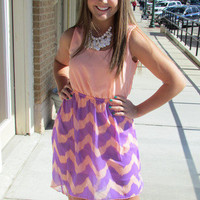 Coral and Purple High-Low Chevron Dress