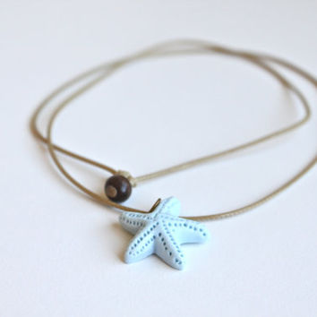 Handmade Ceramic Star Pendant Necklace with Adjustable Woven String. Porcelain Starfish pendant. Gift for Nature Lover, Ocean Theme.