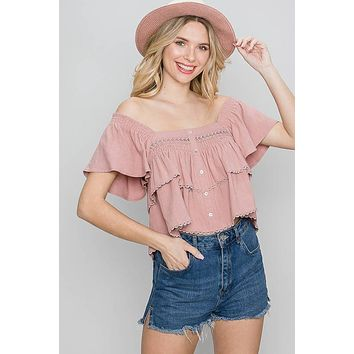 Allie Rose Tiered Linen Smock Button Front Top