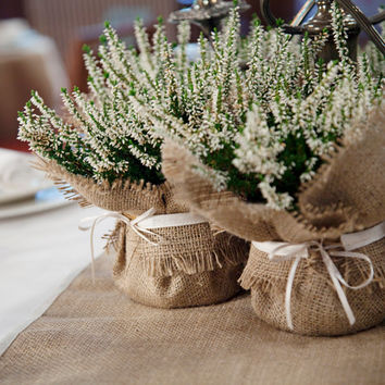 Rustic Wedding Decoration, burlap plant wrap with satin tie, wedding favor and dramatic centrepiece