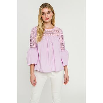 Apparel- Agatha Lace with Poplin Bell Sleeve Blouse Lilac