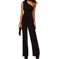 2016 Off Shoulder Women Jumpsuit and Rompers Long pants Bell-bottom Overall Jumpsuit Solid Sexy Club Black Elegant Jumpsuit