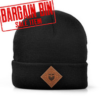 (BARGAIN) Diamond Leather Patch Roll Up Beanie