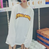 Women Girls Student Long Sleeve Casual Loose Tops  Drawstring Pullover Sweatshirt Flaming Letter