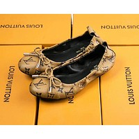 LV Fashion New Plaid Monogram Print High Quality Egg Roll Leisure Shoes Women Brown
