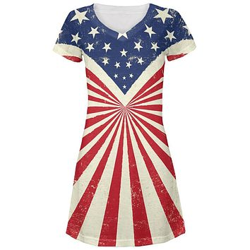 4th Of July American Flag Rays All Over Juniors V-Neck Dress