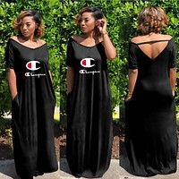 Champion Hot Sale Fashionable Women Casual Round Collar Short Sleeve Long Dress Black