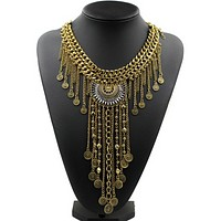 Fashion alloy necklace gold and silver two - color chain tassel copper pendants jewelry