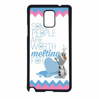 Olaf Quote Melting The Disney Frozen Pink Blue Chevron Samsung Galaxy Note 4 Case