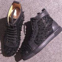 DCCK2 Cl Christian Louboutin Rhinestone Style #1954 Sneakers Fashion Shoes