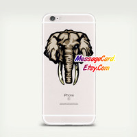 Elephant Head Clear Phone Case Cover , Crystal Clear iPhone 6 6s Case , Custom Clear iPhone 6 6s Case , Cool iPhone Case , Transparent Case