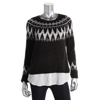 Kensie Womens Knit Contrast Trim Pullover Sweater