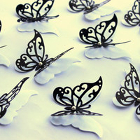 Elegant Black and White Double Wing Butterflies,3D,Art, Paper, Wall Decor,Girl Room, Nursery, Wedding, Baby Shower,greeting cards