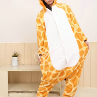 Onesuits Hoodie Giraffe Pajamas Fleece Animal Costume Kigurumi