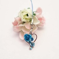 Blue Heart And Rose Cell Phone Charm Strap Rhine Stone