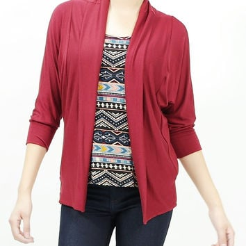 3/4 sleeves soft rayon open cardigan