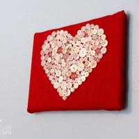 Valentine's Day Button Heart - Decoration, wall art, 9x12 canvas on red burlap, Hand Sewn, love, sweetheart gift, white buttons, red white