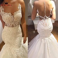 Custom Size Mermaid Lace Beading Sequins Vintage Sexy Long Formal Wedding Dresses Robe de Mariee Wedding Gowns 2018 New LR70