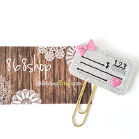 Pink Silver Glitter Check Planner Clip| Paper clips| Planner Accessory| Journal Marker| Bookmark| Teachers| Friends| Gifts