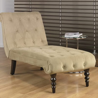 Avenue Six Light Coffee Fabric Tufted Top Curved Legs Chaise Lounge Chair