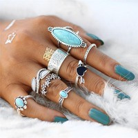 Sedona Sky Boho Midi-Knuckle Rings Set of 8