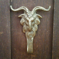 Vintage Brass Horned Goat Krampus Hook