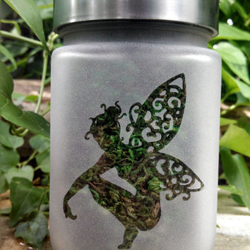 Fairy Etched Glass Stash Jar- Fairy Wedding Favor - Girlfriend Gift - Free UPGRADE to Priority Mail within the US