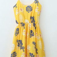 Yellow Spaghetti Strap Floral V-neck A-Line Pleated Mini Dress