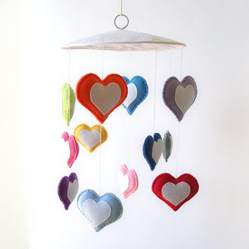 Heart mobile, nursery decor, felt baby mobile, colorful hearts, hanging hearts decor, kids room decor