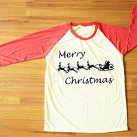 Merry Christmas T-Shirt Santa Shirt Reindeer Shirt Christmas Gift Shirt Red Sleeve Tee Women Shirt Men Shirt Unisex Shirt Baseball Tee S,M,L