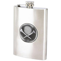 Maxam 8oz Stainless Steel Flask With Golf Emblem