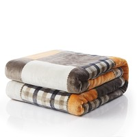 Tache Fall Orange Farmhouse Super Soft Micro Fleece Plaid Patchwork Plush Lightweight Bed Throw Blanket (4021)