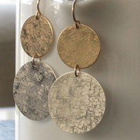 Large Disc Earrings in Sterling Silver and 14K by erinjanedesigns