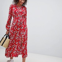 Nobody's Child maxi dress with shirred waist and side split in floral at asos.com
