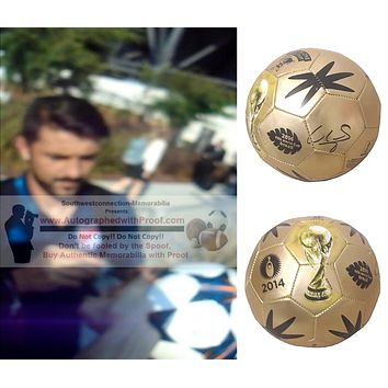David Villa Autographed 2014 FIFA World Cup Gold Soccer Ball, Espana, Spain, NYC FC, Proof Photo