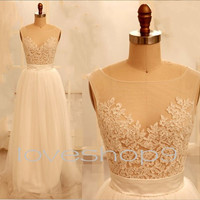 Long White See Through Lace Prom Dresses Beautiful Appliques Bridesmaid Dresses Homecoming Dresses Wedding Dressees