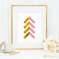Gold foil and pink chevron arrows, printable wall art decor, faux gold foil art, arrow art for office, bedroom decor, digital download JPG