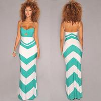 Light Blue Wave Print Strap Maxi Dress