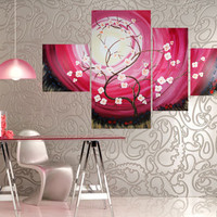 Big PAINTING Gift Ideas For Her Art ROSE SAKURA spring decor sunrise pink cherry blossom tree in poppies field acrylic on canvas by Ksavera
