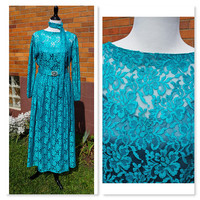 Both Vintage and Handmade Evening Dress, Teal Turquoise lace, Full skirt, Long Sleeve, Belt or Sash, Lined, Formal, Homecoming,