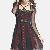 Women's Free People 'Tough Love' Embroidered Mesh Fit & Flare Dress