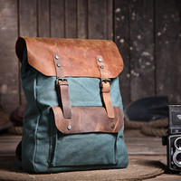 Handmade Leather Canvas Backpack   Canvas Backpacks  Student Canvas Backpack---lake green