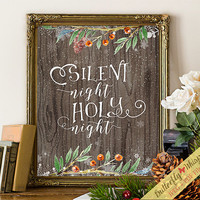 Silent night, holy night print, printable christmas quote, christmas carol print, christmas wall decor, christmas song wall art framed quote