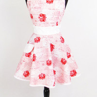 Retro Apron - Pink Roses Sexy Womans Aprons - Vintage Apron Style