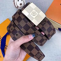 Louis Vuitton LV New Fashion Plaid Leather Women Men Leisure Belt With Box