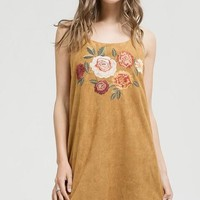 Camel Embroidered Suede Strappy Shift Dress (final sale)